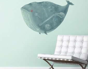 Happy Whale Decal for Baby Nursey - Animal Wall Decor by Laura González