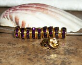 20 Amethyst rhinestone Gold plated  spacer- (20 pieces)- 6 mm