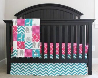 custom crib bedding hot pink turquoise and grey elephant and giraffe baby girl bedding