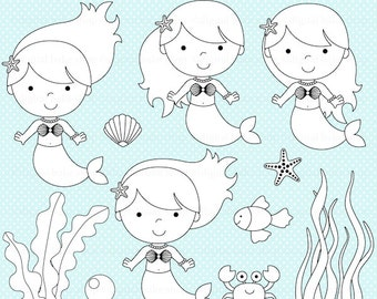 mermaid stamps clipart digital clip art - Mermaids Digital Stamps