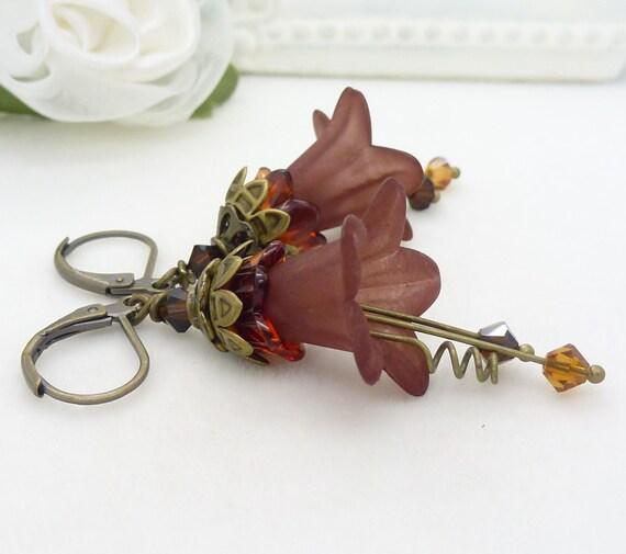 Rust brown earrings, autumn earrings, long big dark brown lucite flower earrings, handmade beaded jewelry