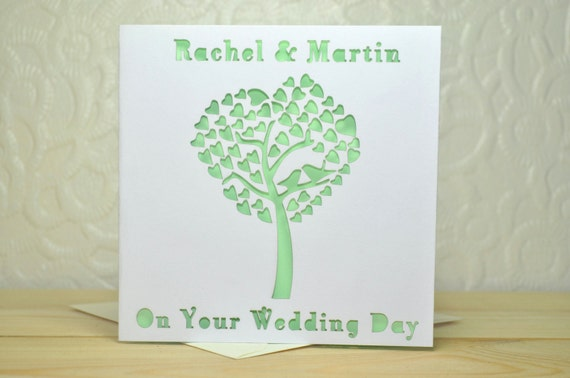 Wedding Heart Tree personalised laser cut card