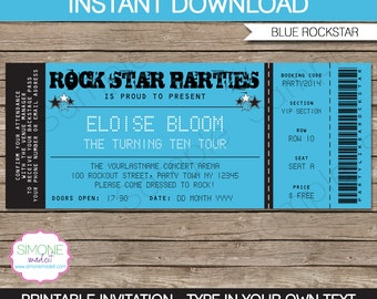 Rockstar Invitation Template - Karaoke Invitation - Birthday Party - Blue - INSTANT DOWNLOAD with EDITABLE text - you personalize at home