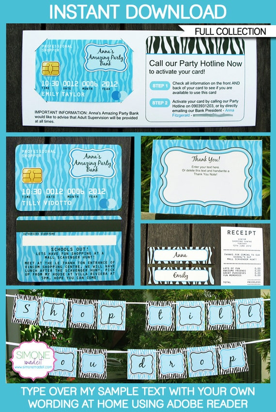 Mall Scavenger Hunt Invitations - Credit Card Invitations - full ...