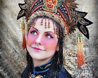 Example of Work  Fantasy Chinese Asian Queen Princess Suzy Wong 1920 Imperial Opera Crown Headdress Headpiece Hat Dragon Tassels