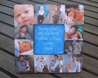 Personalized Father's Day Gift, Unique Birthday Gift for Dad - Baby Picture Collage Frame, Baby's First Year, Custom Mother's Day Gift