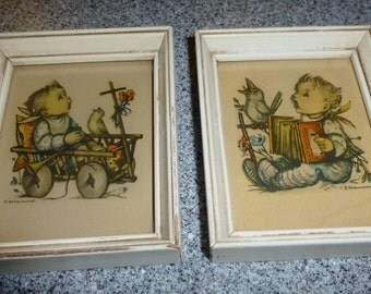 Pair of B Hummel Prints Framed with Babies and Birds Young Children Singing