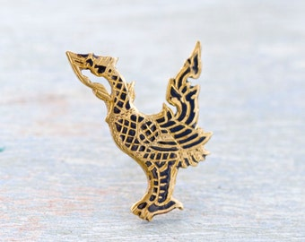 Golden Phenix Vintage Tie pin - Damscene men's Jewelry - Tie Tac