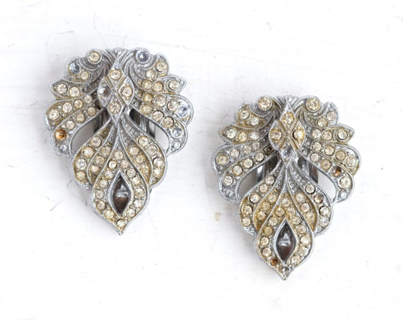 Art Deco Silver Shoe Clips with Rhinestones