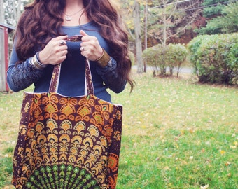 Mandala sunburst market bag, Diaper Bag, hippie bag, grocery bag, eco shopping bag, reversible canvas bag, bohemian bag, hippie wedding