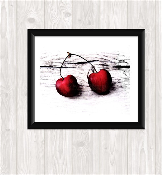 "Print Your Own Fine Art Red Cherry Photo Fine Art Photography Kitchen Art Home Decor Wall Art Food Photography ""Sweet Crimson"" Still Life"