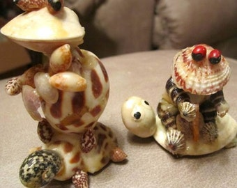 Seashell figures turtle frog weird sea water figurines shell creatures beach fun souvenir ocean art Vintage vacation gift beach house decor