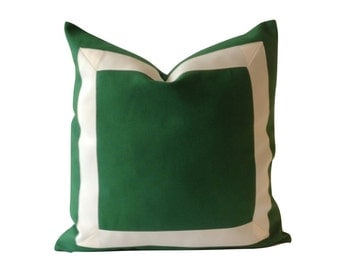 20x20 TO 26x26 Kelly Green Cotton Canvas Decorative Pillow Cover with Off White Grosgrain Ribbon Border - Cushion Covers
