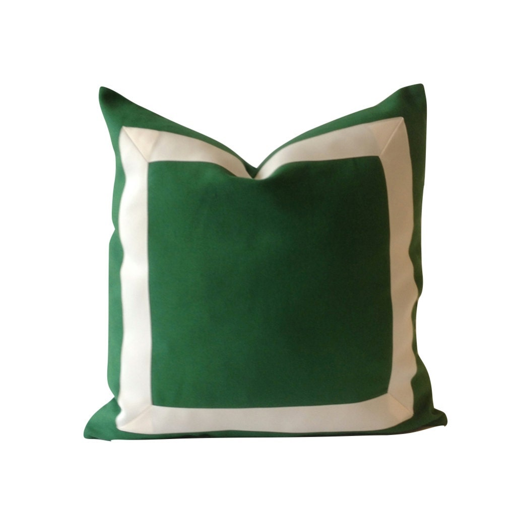 Decorative Pillows With Green : Decorative Pillow Cover Kelly Green Cotton Canvas with Off