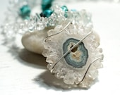 Earth Meets Sky - Turquoise and Crystal Necklace - 2 Strand Bead Necklace With Remvoable Stalactite Crystal Wire Wrapped Pendant