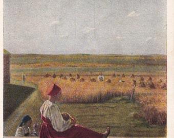 Vintage Venetsianov (At harvest. Summer) Postcard - 1958, Izogiz Publ.