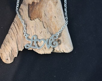 "Silver Plated ""Love"" Necklace - Item 1046"