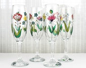 Champagne Glasses, Floral Wedding Glasses, Hand Painted Champagne Flutes,  Embroidery design,  Colorful Flowers, Set of 2, Bridal Gift