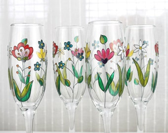 Champagne Glasses, Floral Wedding Glasses, Hand Painted Champagne Flutes,  Embroidery Design,  Colorful Flower Glasses, Set of 2
