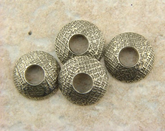 BHB Caps, Etched Pewter Bead Caps, Chex Mix Mesh, 1 pair (2 caps), 15mm with 5mm hole