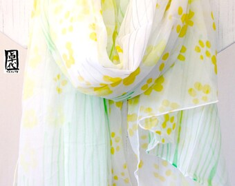 Hand Painted Silk Shawl, gift for her, Birthday Gift, White Silk Scarf, Yellow Petite Sumi Wildflowers Scarf, Chiffon Scarf,  42x71 inches