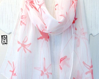 Silk Scarf Handpainted, Red Silk Scarf, Spring Red Meadow Floral Scarf, White Silk Scarf, Silk Chiffon Scarf. 10x58 inches. Made to order.