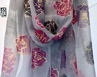 Hand Painted Silk Shawl Scarf, Black Roses Grey Large Silk Scarf, Silk Chiffon Scarf, 22x90 inches. Made to order.