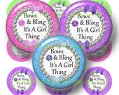 Glitter Bows and Bling It's A Girl Thing, Bottle Cap Images. 1 Inch Circles, Digital Collage Sheet, (No.1) Bow Centers, Instant Download