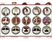SANTA, Christmas Ornament, Bottle Cap Images, Digital Collage Sheet, 1 Inch Circle, Christmas Images (Old Saint Nick 1)