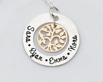 Personalized Necklace - Hand Stamped Necklace -MIxed Metal Family Tree Necklace - Family Name Necklace - Mothers Day Present
