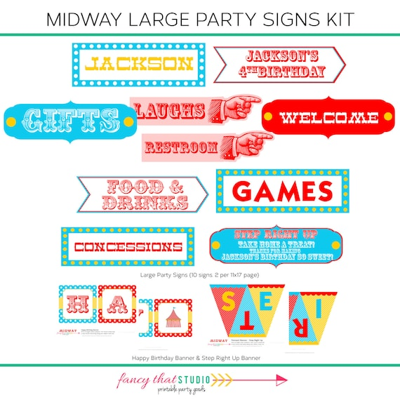Carnival Circus Birthday Theme Printable Large Party Signs Tightrope