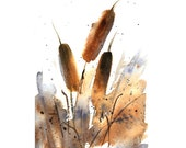 5x7 FINE ART PRINT of Cattails Watercolor Painting 'Sunlit Cattails' Nature Landscape by Vickie Sue Cheek, Wall Decor