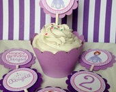 12 Sofia Birthday Party Cupcake Toppers