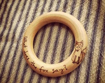 What Does the Fox Say? Little Prince Le Petit Wooden Teething Ring Baby Teether Toy First Christmas Ornament Gifts Under 20 Woodland Nursery