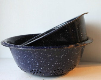 Set of Two Vintage Blue and White Speckled Enamel Bowl and Strainer, Country Home Decor