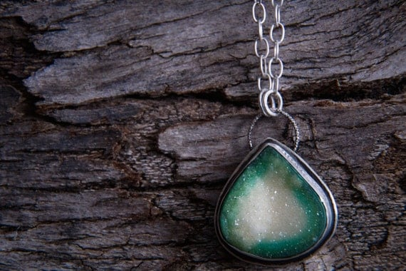 Green Druzy Pendant-Sterling Silver Green Druzy Necklace-Green Druzy Agate Necklace-Druzy Agate Jewelry