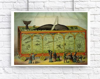 Whale Circus Aquarium Octopus Shark Large Victorian Steampunk Nautical Vintage Style Art Print Beach House Decor