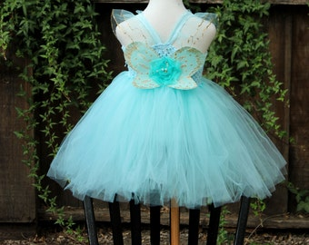 Light Blue Butterfly Costume - Butterfly dress with wings - Aqua butterfly dress - baby blue butterfly costume