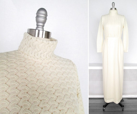 1970s Dress / White Crochet Style 1970s Maxi Dress / 1970s Boho Wedding Dress / small