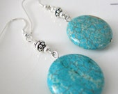 Blue Earrings Sterling Silver Coin Style Handmade Jewelry Natural Howlite Stone