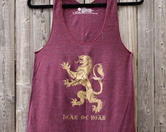 Game of Thrones Racerback Tank -- Lannister Lion Sigil -- Hear Me Roar