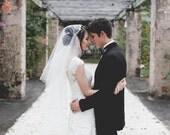 Silver, Crystal Juliet Cap Veil, Vintage Inspired Tulle Veil, Juliet Veil, Art Deco Cap Veil, Great Gatsby Veil - The FIONA design