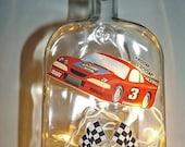 OOAK RACE CARS Glass Bottle Accent Bar/ Table Lamp/Light-Great Gift Idea