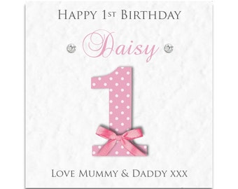 Personalised Girls 1st Birthday Card - Daughter, Granddaughter, Niece!