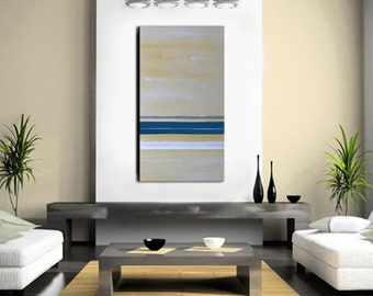 Nautical Art, Nautical Abstract Painting, 48x24 - Yellow and Blue