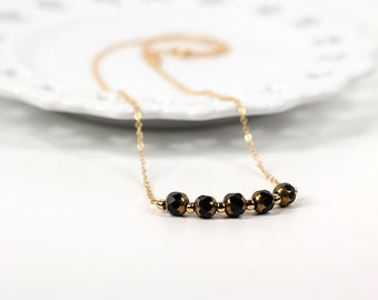 Black and Gold Bar Pendant and Chain Beaded Necklace Carnival Collection