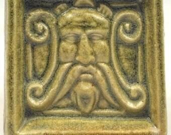 "Gort Greenman moss, glazed ceramic tile 2 1/4""sq. x 1/2"" thick"