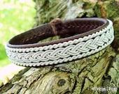 MJOLNIR Viking Bracelet. Sami Swedish Lapland Bracelet Custom Handmade Tribal Elegance in Antique Brown Reindeer Leather and Pewter Braid