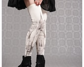 Ivory Thigh Highs Victorian City by Carousel Ink - thigh high socks - stockings tights - thigh highs