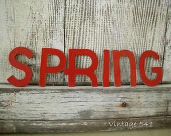 Vintage Cardboard Letters SPRING Red Letters